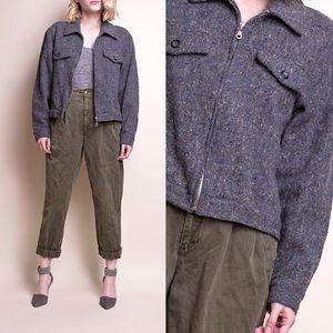 Vintage 90s gray wool cropped moto jacket